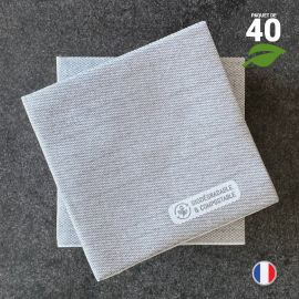 Serviettes en tissu-ouate anthracite Biodégradables et compostables 20cm x 20cm Par 40
