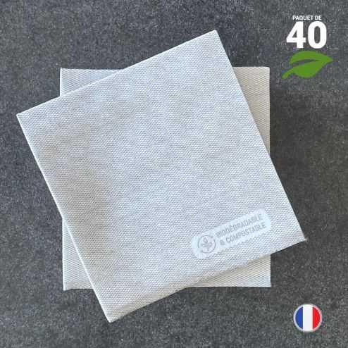 Serviettes en tissu-ouate grises Biodégradables et compostables 20cm x 20cm Par 40