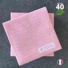 Serviettes en tissu-ouate rouges Biodégradables et compostables 20cm x 20cm Par 40