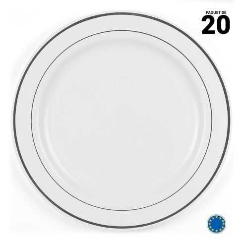 20 Assiettes liseré argent 23cm. Lavables et réutilisables.