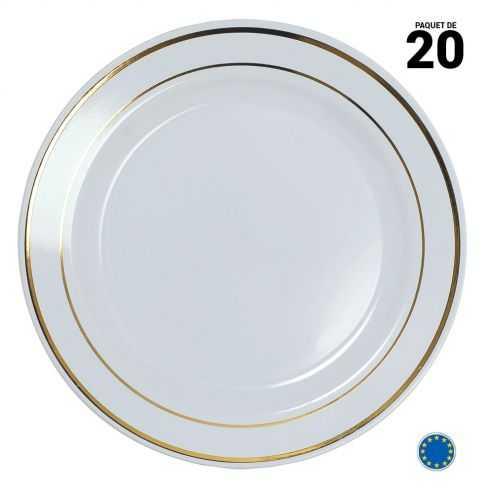 20 Assiettes liseré or 23 cm. Lavables et réutilisables