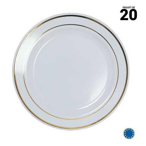 20 Assiettes liseré or 19 cm. Lavables et réutilisables.