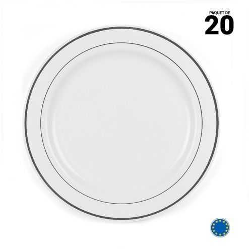 20 Assiettes liseré argent 19 cm. Lavables et réutilisables.