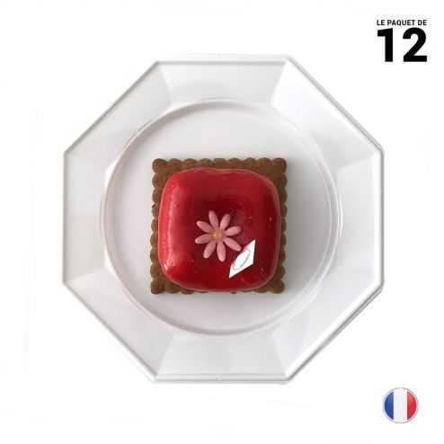 12 Assiettes octo blanc Lavables - réutilisables