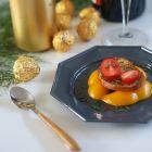 12 Assiettes octogonales grises 17,5cm Lavables - réutilisables