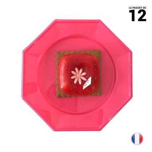 12 Assiettes octogonales fuchsia 17,5cm Lavables - réutilisables