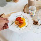 12 Assiettes octogonales blanches 17,5cm Lavables - réutilisables