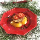 12 Assiettes octogonales rouges 17,5cm Lavables - réutilisables