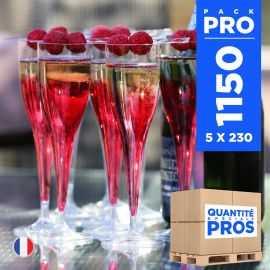 1150 Flûtes cristal 12 cl. Recyclables - Réutilisables.