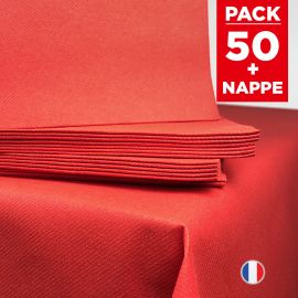 Pack 1 nappe en intissé rouge + 50 serviettes rouges.