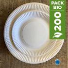 Pack 200 assiettes carton biodégradables 18 cm et 23 cm.