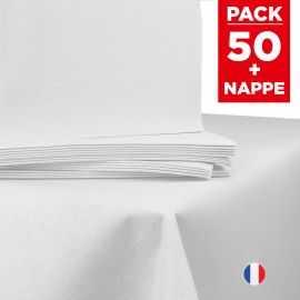 Pack 1 nappe intissé blanche + 50 serviettes blanches.