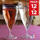 Pack 12 verres à vin + 12 verres à eau design cristal.