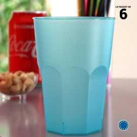 6 Verres cocktail turquoise 42cl Lavables - réutilisables
