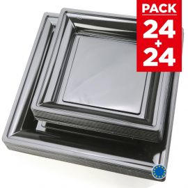 Pack 48 assiettes carrées style noires.