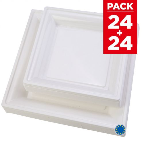 Pack 48 assiettes carrées style blanches.