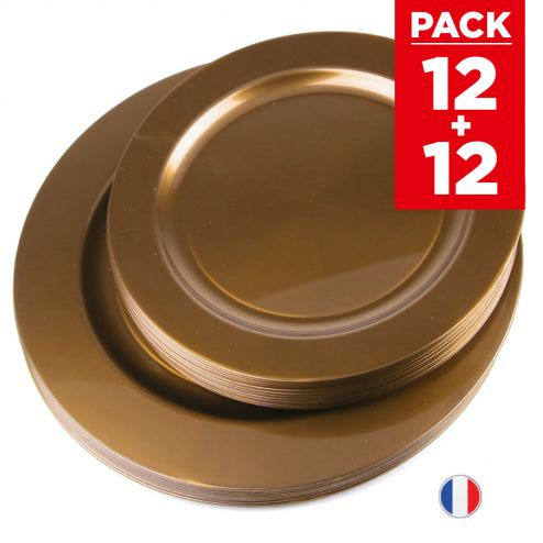 Pack 24 assiettes chocolat. Recyclables - Réutilisables.