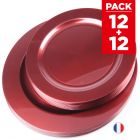 Pack 24 assiettes rouges. Recyclables - Réutilisables.