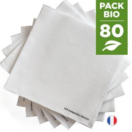 Pack 80 serviettes biodégradables blanches.