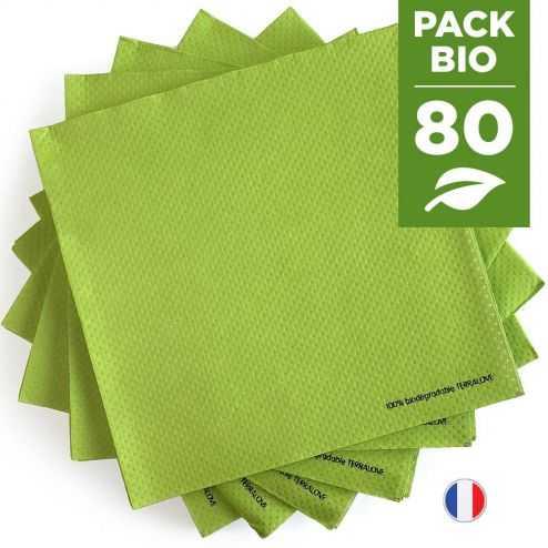 Pack 80 serviettes biodégradables vertes.