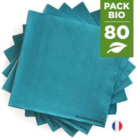 Pack 80 serviettes biodégradables bleues.
