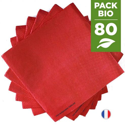 Pack 80 serviettes biodégradables rouge cerise.