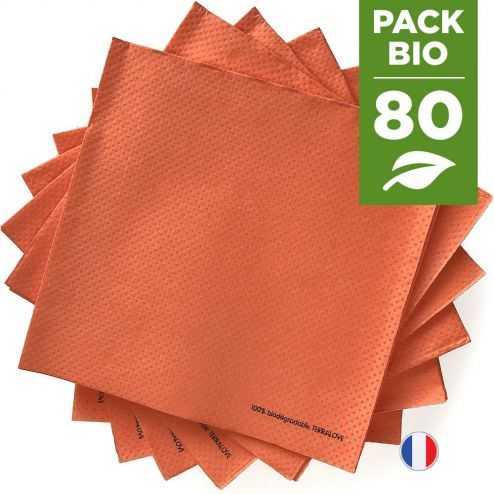 Pack 80 serviettes biodégradables orange