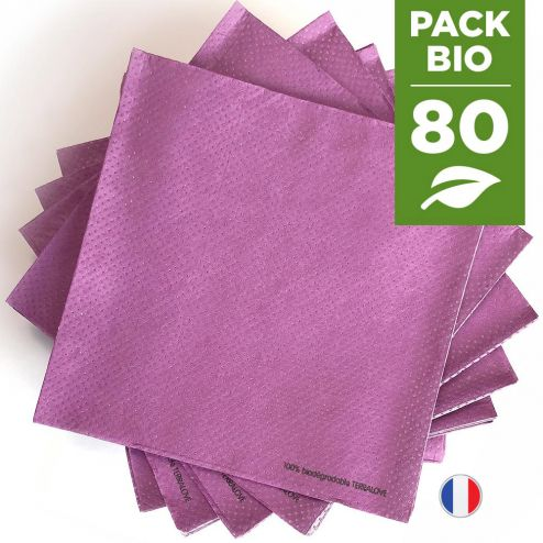 Pack 80 serviettes biodégradables prune.