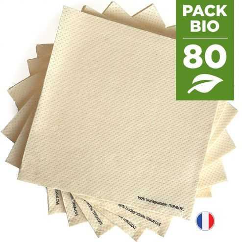 Pack 80 serviettes biodégradables beiges.