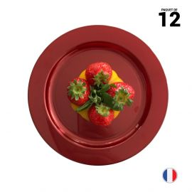 12 Assiettes rondes rouges 19 cm Lavables - Réutilisables
