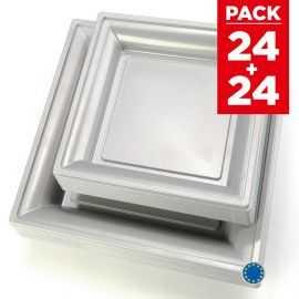 Pack 48 assiettes carrées style gris argent.
