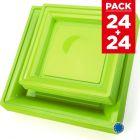 Pack 48 assiettes carrées style vert anis.