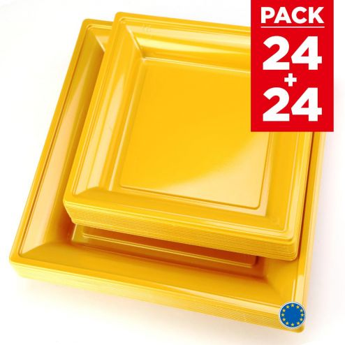 Pack 48 assiettes carrées style or mat.