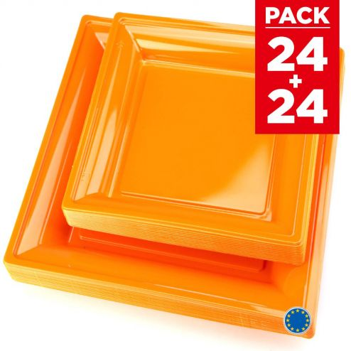 Pack 48 assiettes carrées style orange.