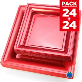 Pack 48 assiettes carrées style rouge cerise.