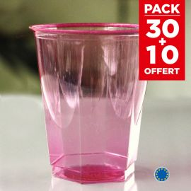 Pack 30 verres fuschia recyclables + 10 gratuits.