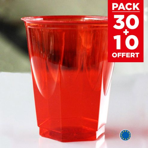 Pack 30 verres rouges recyclables + 10 gratuits.