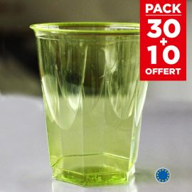 Pack 30 verres vert anis recyclables + 10 gratuits.