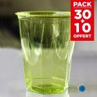 Pack 30 verres vert anis recyclables + 10 gratuits.