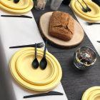Pack 48 assiettes fibre Bio macaron jaune 18 cm et 23 cm.