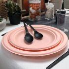 Pack 48 assiettes fibre Bio macaron orange 18 cm et 23 cm.