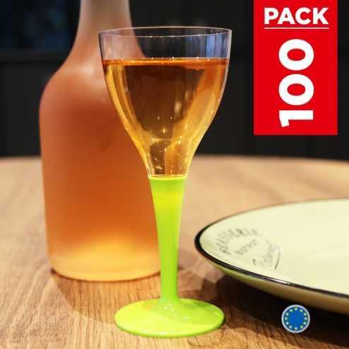 Pack 100 verres vert anis. Lavables - Réutilisables.