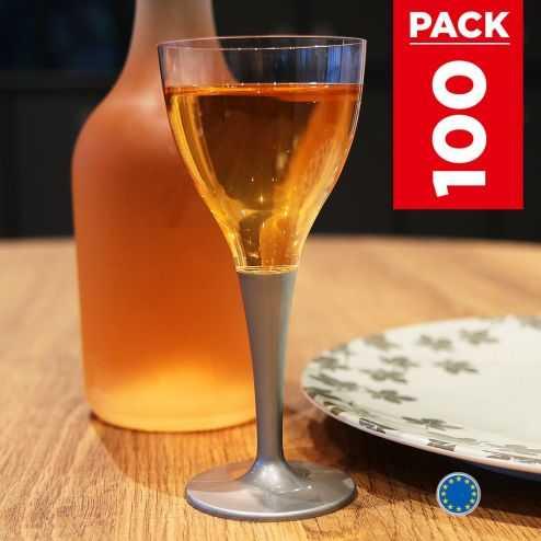 Pack 100 verres gris béton. Lavables - Réutilisables.