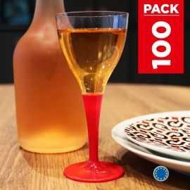 Pack 100 verres rouges. Lavables - Réutilsables.