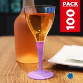 Pack 100 verres lilas. Lavables - Réutilisables.