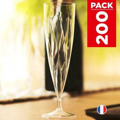 Pack 200 flûtes torsadées 13,5 cl. Lavables - Réutilisables.