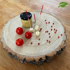 Rondin en bois naturel luxe centre de table 26cm x 4 cm.