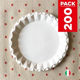Pack 200 Assiettes carton blanc design 18cm
