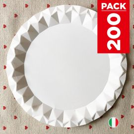Pack 200 Assiettes carton blanc design 23 cm.
