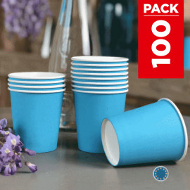 Pack 75 gobelets carton turquoise + 25 Gratuits.